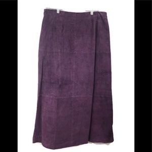 Terry Lewis Purple Eggplant Suede Leather Skirt